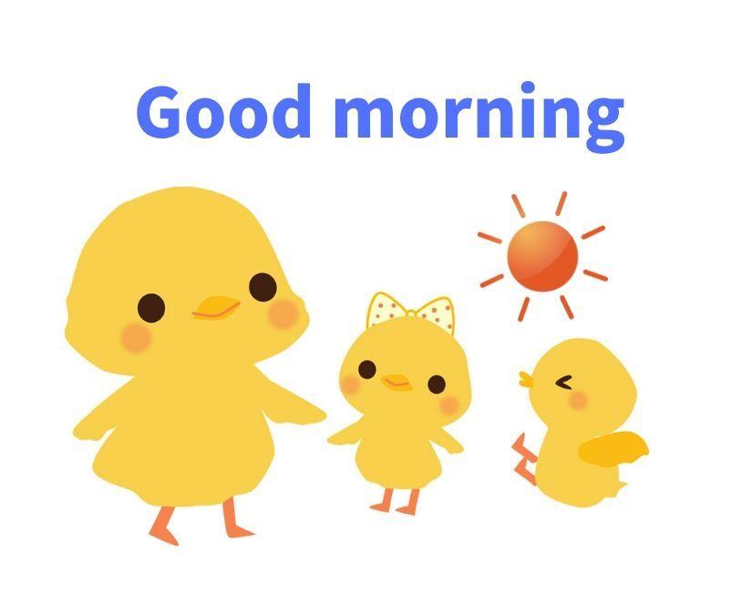 はよう無料LINEスタンプ・おはよう無料ラインスタンプ・Good morning・ヒヨコ・ひよこ