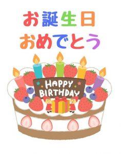 誕生日無料LINEスタンプをプレゼント・かわいい誕生日ケーキの無料ラインスタンプ
